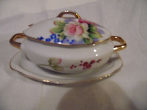 Lefton little tureen with underplate childs? or jelly server
