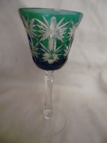 Kusaks Cut Glass Works Butterfly Emerald cut to clear crystal goblet