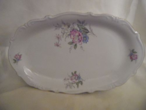 Bavaria West Germany fine china oval platter floral with gold trim 15""