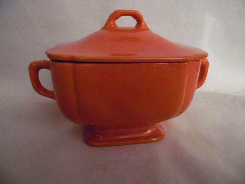 Homer Laughlin Riviera red orange sugar bowl with lid