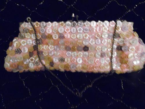 K.C. Malhan Designer Vintage Button Purse/Clutch Handbag-Pastel Button