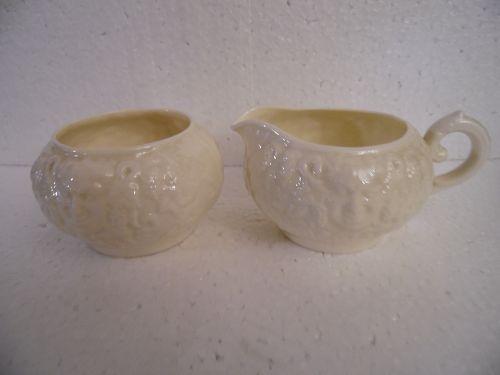 Belleek Irish Porcelain Creamer & Sugar Bowl in Bacchus 'Mask' Pattern