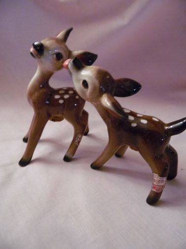 Rare UCAGCO kissing deer salt and pepper shakers