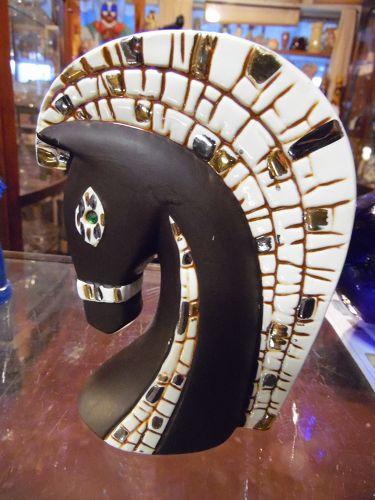 Relco Fifties Modern  horse head vase mosaic trim 8A164