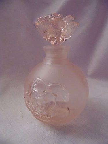 Vintage Silvestri Pink Satin Flower Rose Top Perfume Bottle