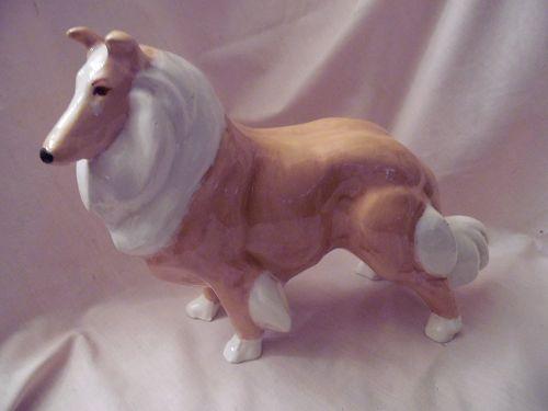 Large ceramic Lassie collie dog figurine