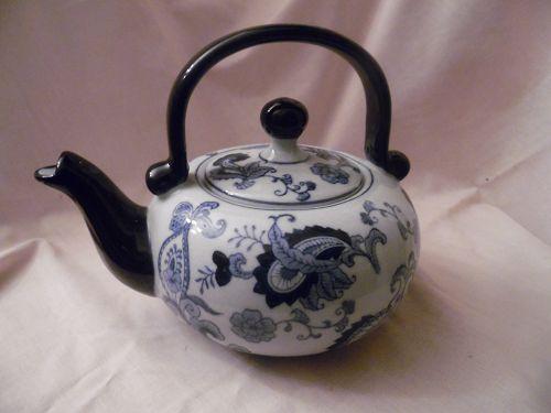 Pier 1 Blue and white porcelain teapot