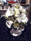 "Beautiful Capodimonte white floral topiary 9"" centerpiece K837 Italy"