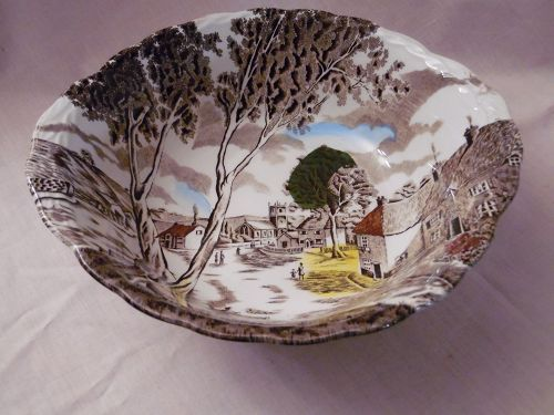 "W.H.Grindley Staffordshire  Sunday Morning 8 7/8"" round vegetable Bowl"