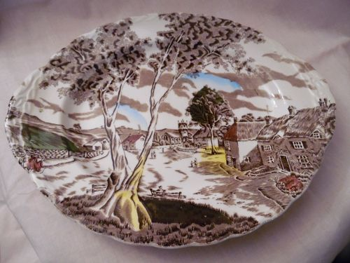 "W.H.Grindley Staffordshire  Sunday Morning 12 1/4"" oval platter"