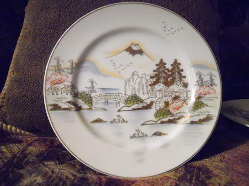 Hand painted Kutani Dinner plate KUT143 Fuji bridge birds trees lake