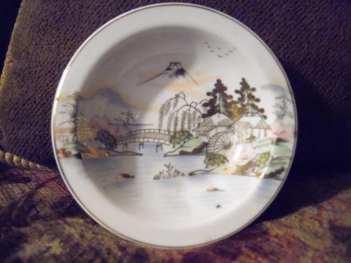Hand painted Kutani dessert bowl KUT143 Fuji bridge birds trees lake