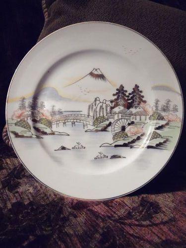 Hand painted Kutani salad plate KUT143 Fuji bridge birds trees lake