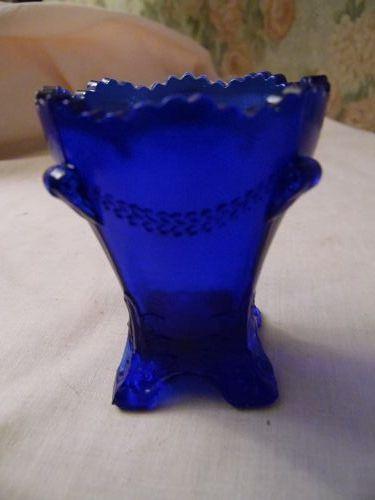 Deganhart  Colonial Drape cobalt blue toothpick holder