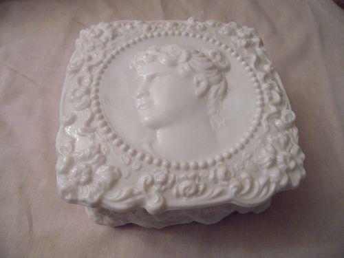Fostoria Jenny Lind milk glass covered box with cameo