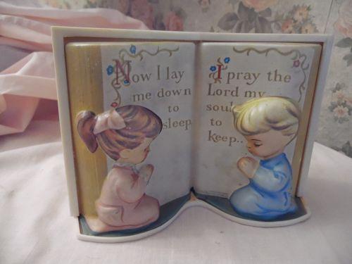Vintage Lords Prayer, praying children nursery lamp