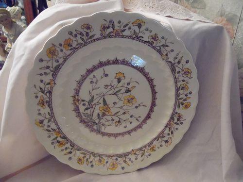 "Vernon Kilns Hibiscus Dinner plate California pottery 11"""