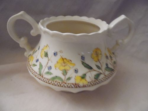 Vernon Kilns Hibiscus sugar bowl no lid California pottery