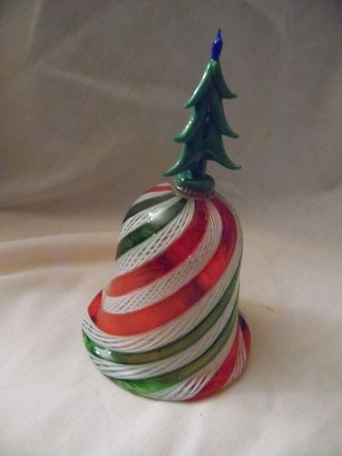 Hand blown art glass peppermint swirl bell with Christmas tree