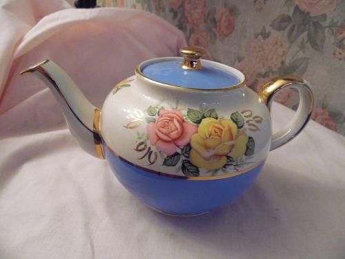 Vintage Sadler Teapot 2215 Sky Blue Turquoise pink yellow roses gold