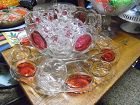 AMAZING cranberry flashed moon and star punch bowl set