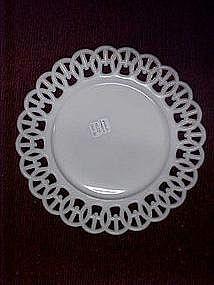 Westmoreland milk glass plates, wicket pattern