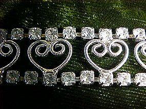Rhinestone bracelet with heart  filigree