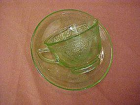 Federal Georgian aka Love birds cup and saucer - green