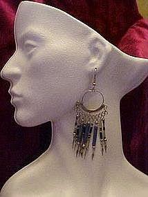 Silver long dangle earrings with blue,pierced