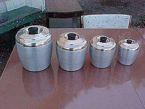 Kromex spun aluminum  / copper tone cannister set