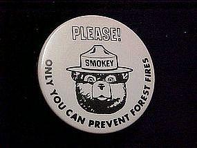 Smokey the Bear pin back button