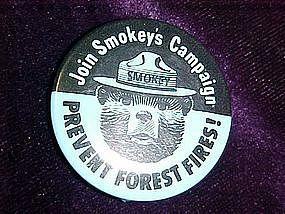 Smokey the bear campaign button, blue