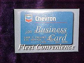 Chevron credit card advertising, pin back button
