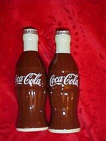 Coca~Cola bottles ceramic salt and pepper shakers