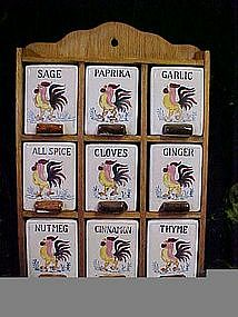 """Hand painted """"Roosters"""" spice set"""