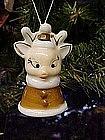 Vintage porcelain reindeer bell, ornament
