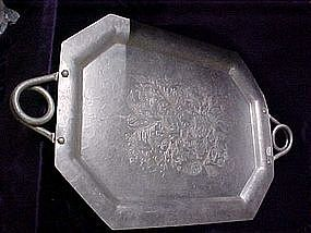 Vintage aluminum serving tray with floral design