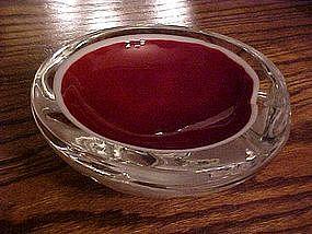 Murano style glass ashtray, red