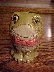 Little green toad frog, ceramic bank