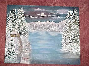 Oil painting on canvas, Winter mountain and lake scene