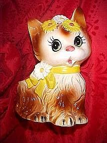 1970's Inarco kitten planter with daisies