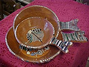 Three piece stacking set of Mexican clay cookware