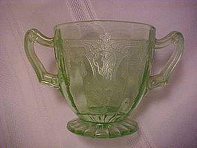 Cameo green sugar bowl, by Hocking glass