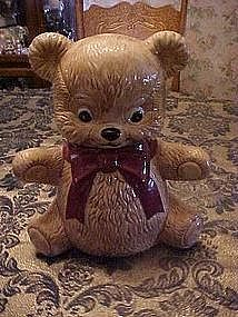 Vintage teddy bear cookie jar with big bow