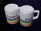 Primary colors,stripes, salt and pepper shakers