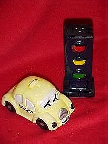 Cookie Cab and stop light, salt and pepper shakers
