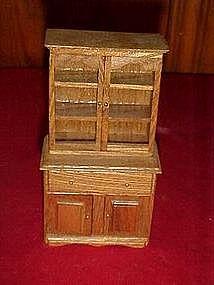 Shackman oak  china hutch cabinet miniature