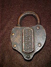 Antique brass switch lock, heart shape 1800's