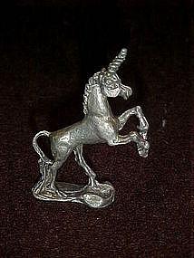 Miniature pewter unicorn figurine