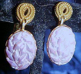 Goldette lavender glass earrings, screw/clip backs